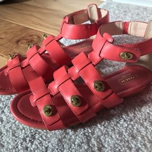 Coach Oleta Coral Gladiator Turn Lock Flat Sandals